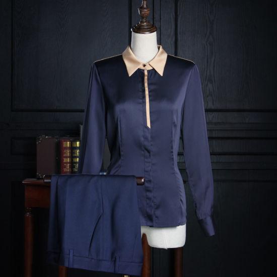f2594fb0dbb Ladies Elegant Fashion Chiffon Navy Blue Long Sleeve Formal Shirt pictures    photos