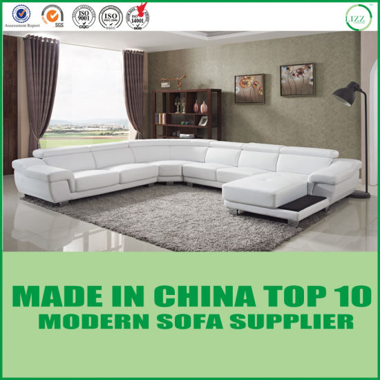 China Modern Living Room Furniture White Leather Couch China