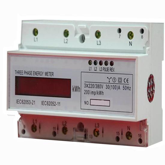 Three Phase Digital DIN Rail Type Watt- Hour Meter for Residents