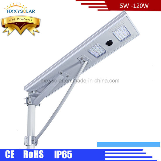 Motion Sensors Solar Power Outdoor Lighting All in One Solar Lamp LED Street Light with Remote Controller