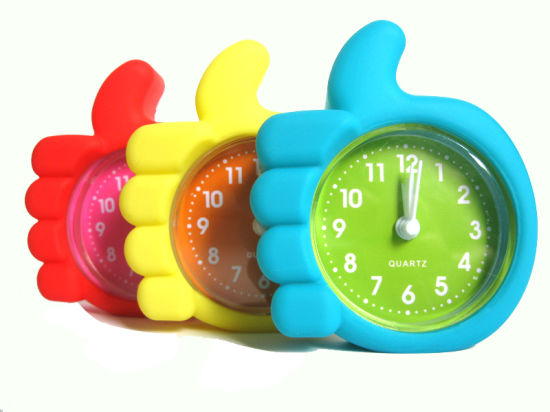 Logo Printed Colorful Silicone Mini Table Alarm Clock with RoHS pictures & photos