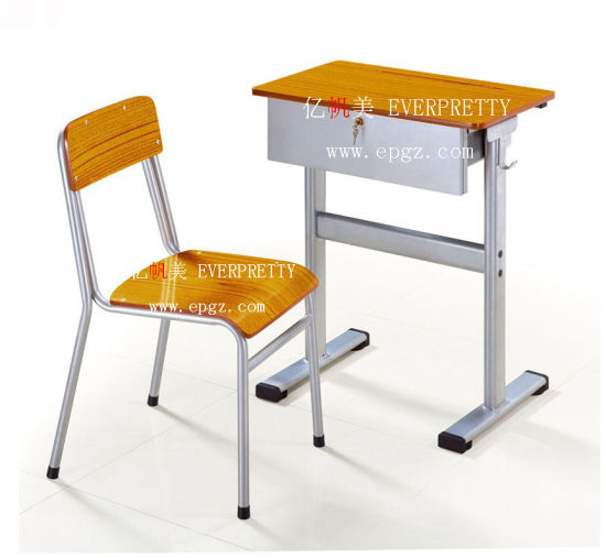 Modern School Furniture Wooden Student Examination Single Desk And Chair  With Drawer