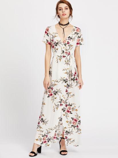8a9d2437b154 New Designs Botanical Print Surplice Front Self Tie V Neck Floral Sexy  Dresses