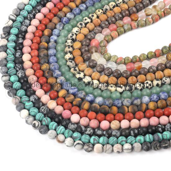 Natural Stone Matte Tiger Eye Amethyst Agate Loose Beads for DIY Bracelet Necklace