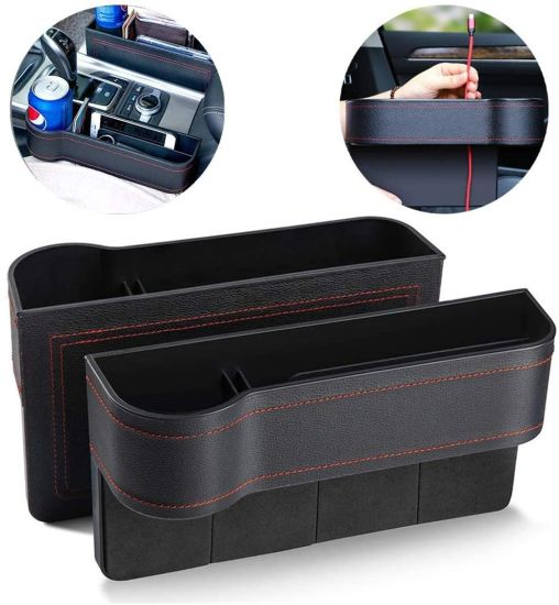 2PCS/Set Leather Auto Storage Box Car Seat Console Gap Storage Box Car Multi-Funct