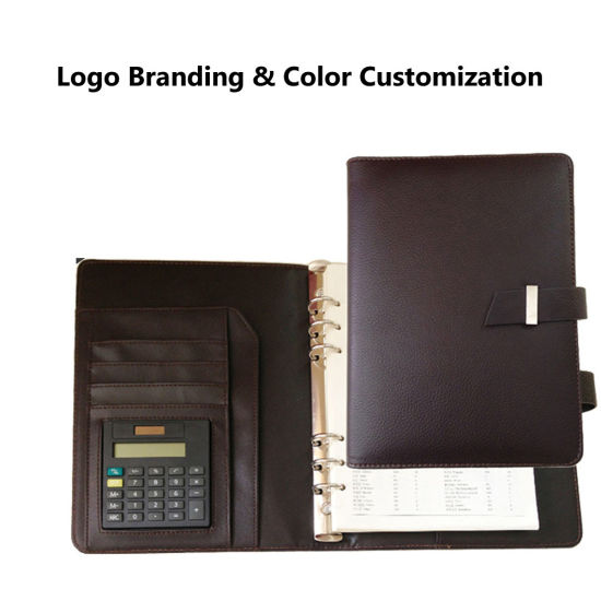 A5 Custom Logo Loose Leaf 6 Ring Binder Calculator Leather Notebook Planner Organizer