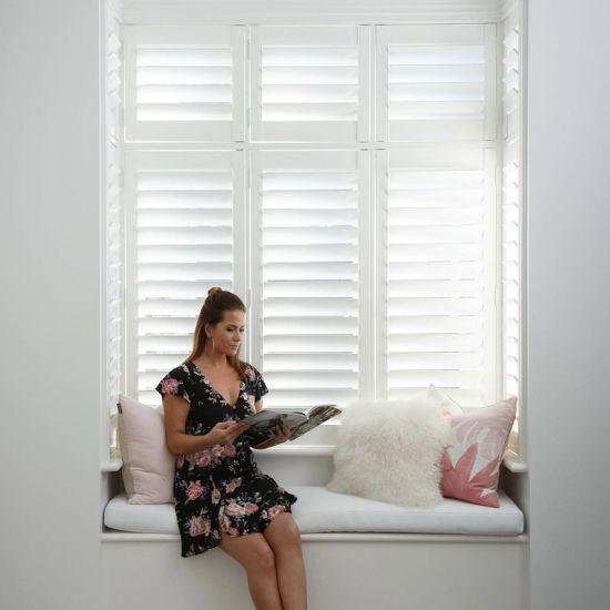 Australia White High Quality Elegant Wood Window Plantation Shutters