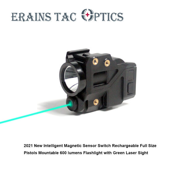 2021 New Intelligent Smart Sensor Switch Full Size Pistols Fitting Magnetic Rechargeable Green Laser Collimator Sight with 600 Lumens LED Flashlight Combo