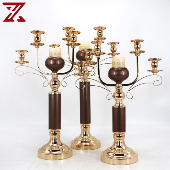 Wholesale Tall Gold Metal Candle Holder for Gift Wedding Decorations