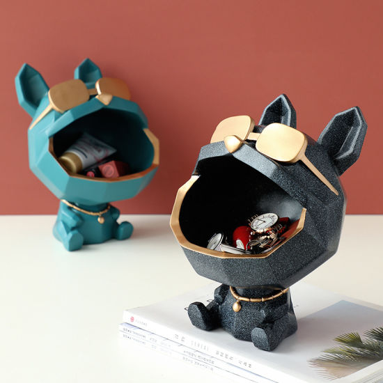 Cute Nordic Style Resin Crafts Geometric Dog with a Tray Sculpture for Family Decoration for Living Room TV Desktop