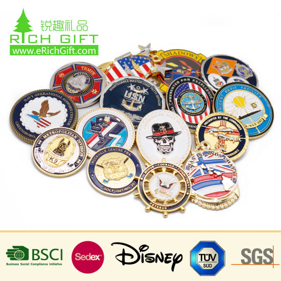 China Manufacturer Maker Custom Logo Commemorative Enamel Army Cia 3D Metal Antique Souvenir Gold Military Award Silver Police Challenge Coin for Promotion Gift