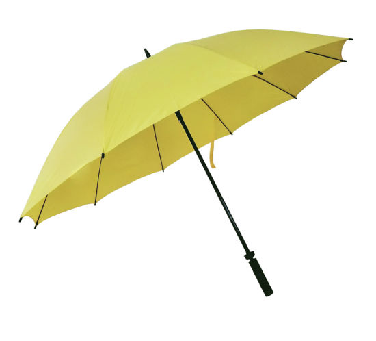 30 Inch 10 Ribs Yellow Promotion Windproof Golf Umbrella