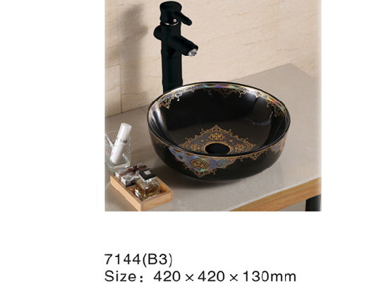 7145bd Colors Sanitary Ware, Black Wash Basin with Golden Decal Flower pictures & photos
