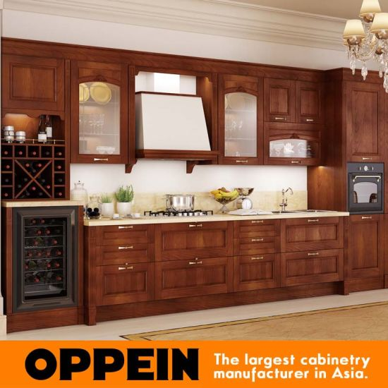 Oppein Antique Alder Wood Luxury Kitchen Cabinets (OP16-120B) pictures & photos