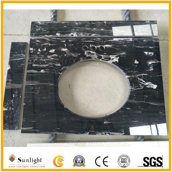 Polished Natural Black Marble Vanity Tops, Kitchen Tops, Countertop