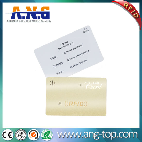 Cmyk Printing RFID PVC Membership Card with Golden Laser Stamping