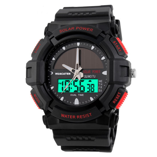 Men 5ATM Waterproof Solar Digital Quartz Movement Sport Wrist Watch
