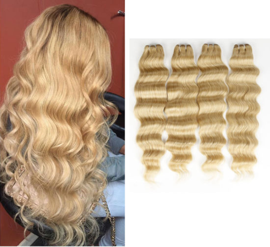 Top Quality Wavy Human Hair Weaving Loose Deep Blone Color Human Hair Extensions pictures & photos