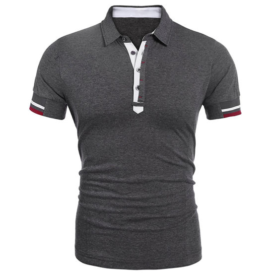 Customized Men's Casual Button up Slim Fit Trendy Polo T-Shirt