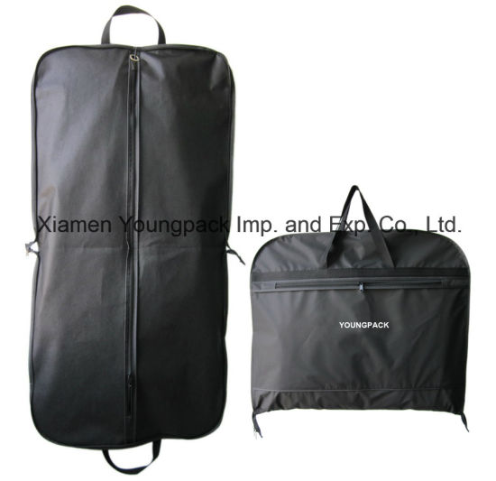Wholesale Promotional Packing Bag Custom Printed Black PEVA and Non-Woven Fabric Cloth Cover Packaging Dust Bag Travel Suit Carrier Garment Bags