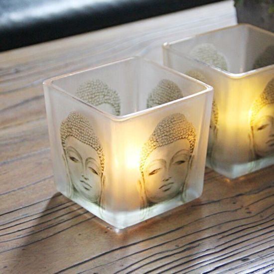 Chinese Buddha Square Blessing Glass Candle Holders