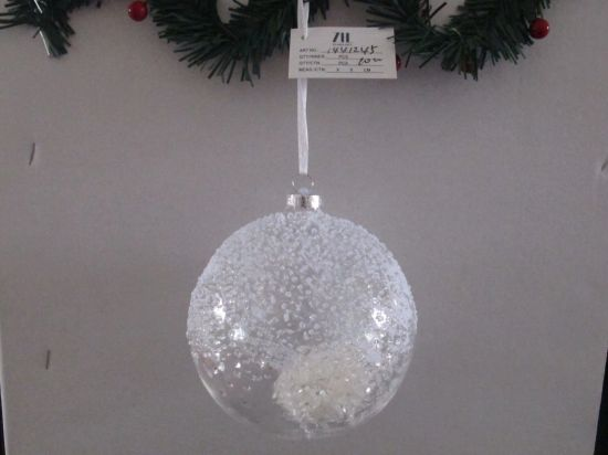 White Color Glass Ball with Resin Decoration Inside