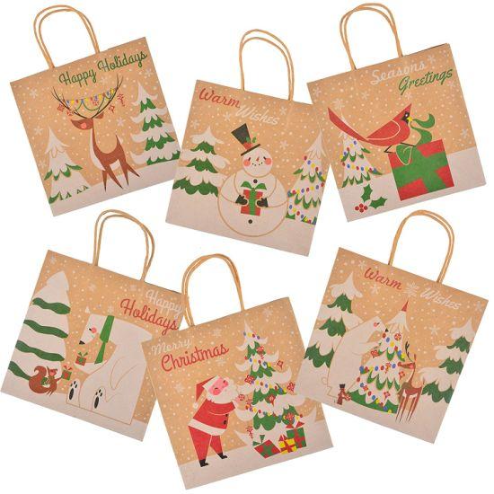 china christmas kraft gift bags with assorted christmas prints for