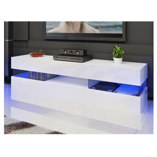 China Large Modern High Gloss Cabinet Glass Shelf Led Tv Stand