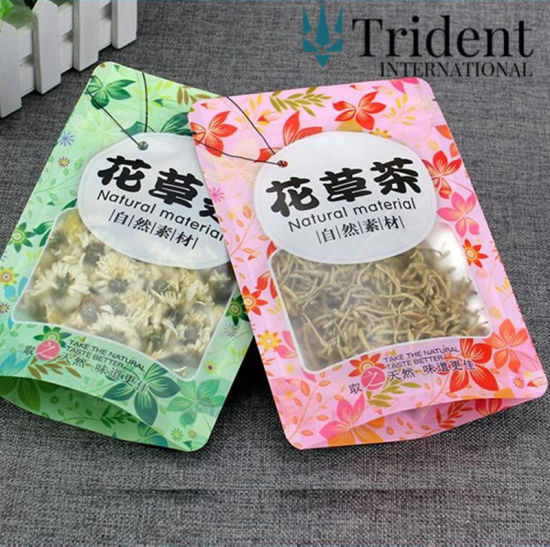 Custom Printed Stand Up Aluminum Foil Tea Packaging Empty Bags For Loose Leaf