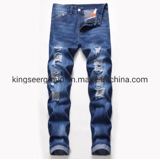 Customized Logo Street Style Deep Blue Denim Wash Zipper Jeans Ks-D006