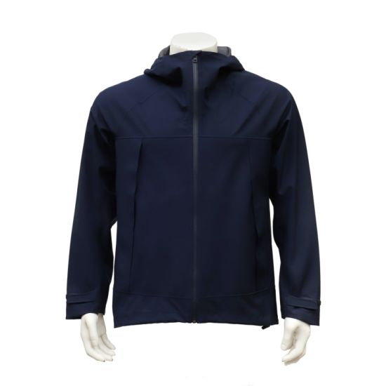 Men's Lightweight Zip-up Hoody Waterproof Windproof Navy Blue Outdoor Jacket