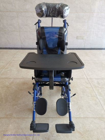 High Quality Customized Handicapped Baby Wheel Chair with Adjustable Pedal Brake and Soft Seat Cushion