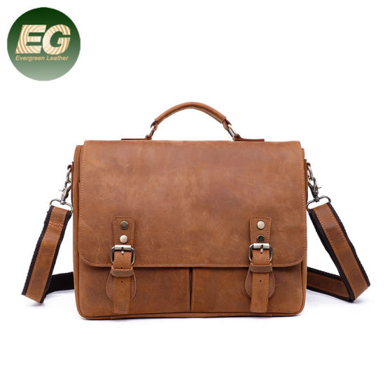 Vintage Leather Bag Mens Messenger Shoulder Laptop Bag Handmade Brown
