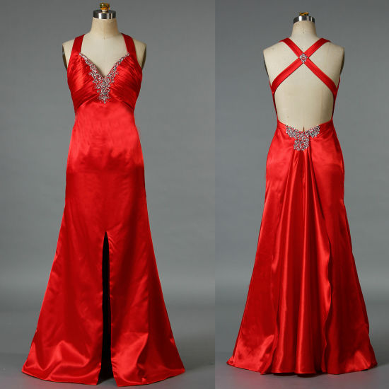 Women's Straps Sexy Evening Dresses Split Red Satin Long Party Gown for Wedding E076