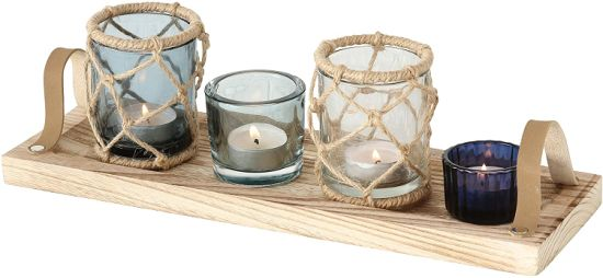 Glass Tealight Candle Holders with Wooden Shelf Glass Candle Jars for Home Decoration