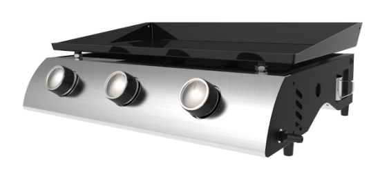 Three Burners Gas Plancha Grill, Portable Gas Barbecue Grill, Easy to Clean and Storage