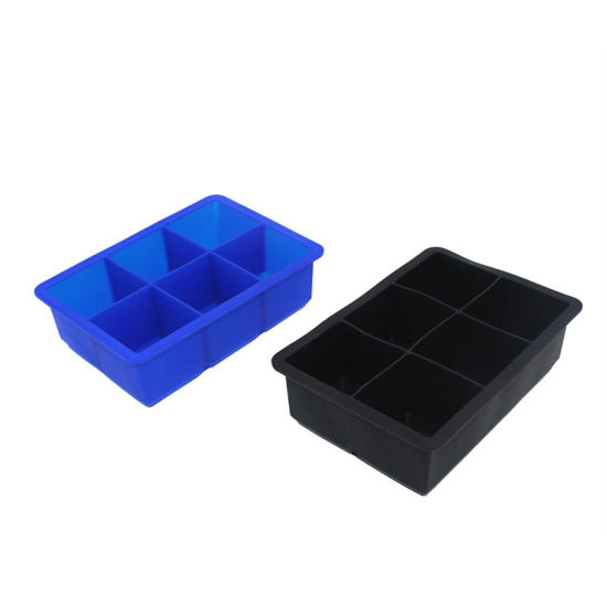 Food-Grade 6 Cavities Square Silicone Ice Cube Tray for Kitchenware
