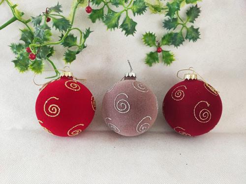2021 Hot Sales Flocking Christmas Glass Ball