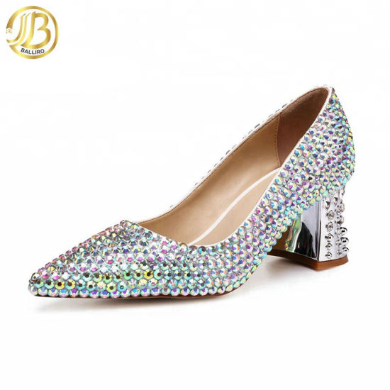 2019 New Fashion Soft Chunky Low Heel Silver Diamond Dress Shoes