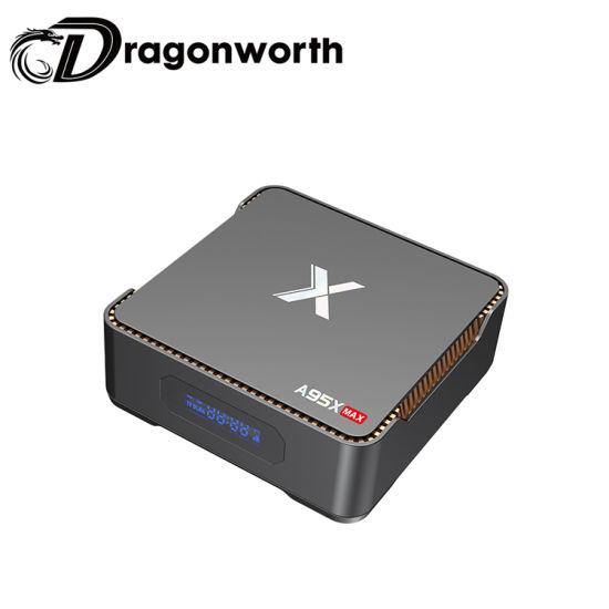 Big Emmc 128GB Hard Disk Amlogic S905X2 Android 8.1 Smart 4K Ott TV Box RAM 4GB ROM 64GB A95X Max with Time Display System