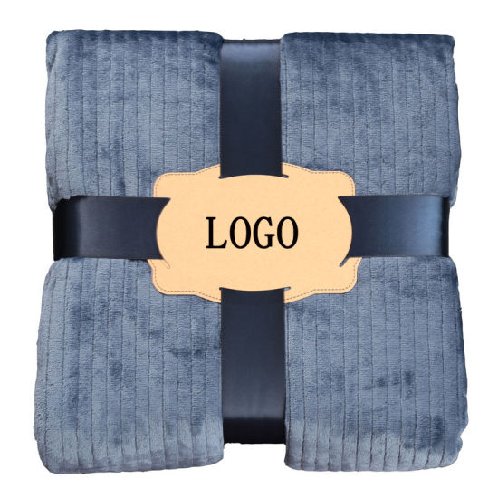 Silk Ribbon Crossed Packing Solid Color Super Soft 100 Polyester Polar Fleece Blanket pictures & photos