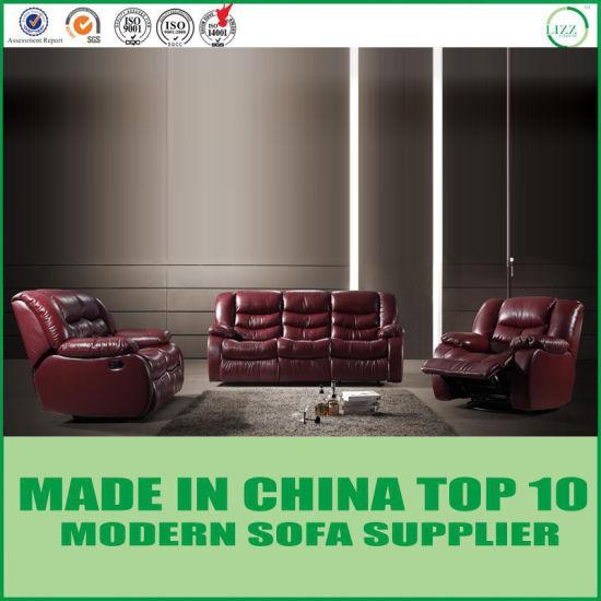China Lazy Boy Home Theater Mahogany Leather Recliner Sofa China