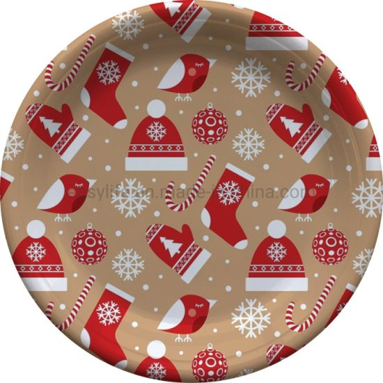 "7"" Eco-Friendly Printed Christmas Stockings Party Plastic Plates P071810f pictures & photos"