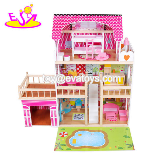 2019 Top Fashion Three Floors Wooden Big Dollhouse with Lights, Garage and Yard W06A333c