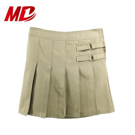 Wholesale School Uniform Khaki Pleated Skirt with Panty Inside