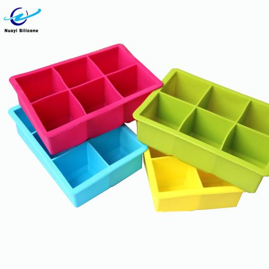 Wholesale Custom Logo 6 Cavity Silicone Ice Cube Trays