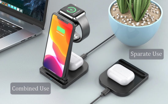 New Products 2020 10W 9V 2A Detachable Split 3 in 1 Wireless Charger Stand Wireless Charging Dock for Apple
