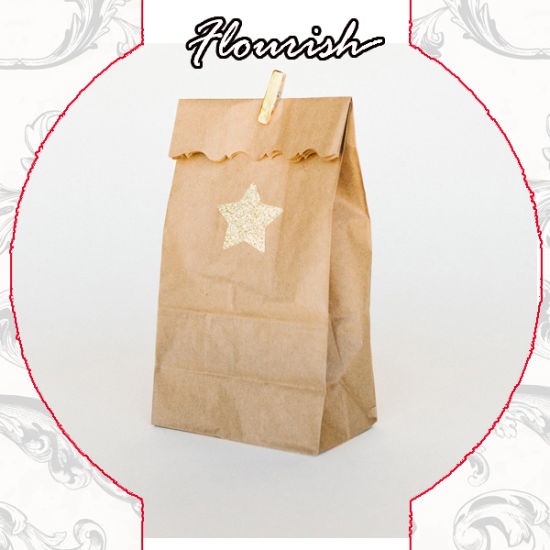 Natural Brown Color Stand-up Type Recyclable Restaurant Take Away Fast Food/ Fried Chicken/ Bread Packaging Kraft Paper Bag