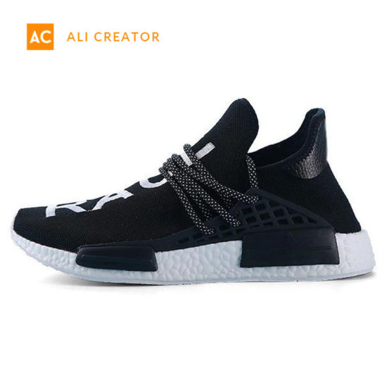wholesale dealer 4662b 2733c 2019 Nmd Human Race Mens Running Shoes with Box Pharrell Williams Sample  Yellow Core Black Sport Designer Shoes Women Sneakers 36-45
