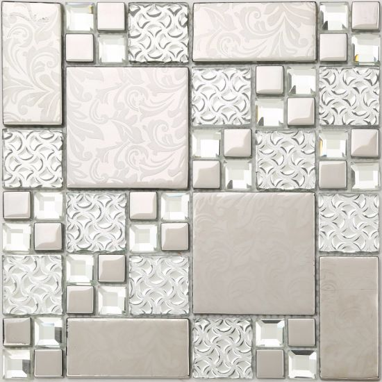 8mm Thickness Ice Crackle Glass Mosaic Tile in Foshan (AJT121) pictures & photos